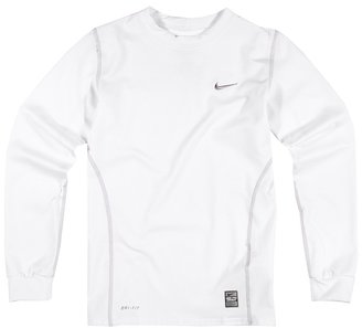 Nike Pro Thermal Long Sleeve Crew (Big Kids) (White) - Apparel