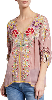 Johnny Was Evangeline Floral Embroidered Cinched-Sleeve Top