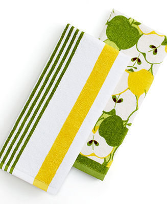 Martha Stewart Collection Set of 2 Fiber Reactive Terry Apples Kitchen Towels