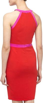 Jay Godfrey Two-Tone Keyhole Cocktail Dress, Red/Fuchsia