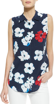 Equipment Slim Signature Sleeveless Floral-Print Blouse