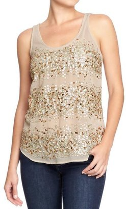 Old Navy Women's Sequined-Front Crepe Tanks