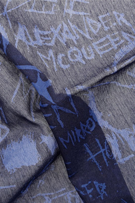 McQ by Alexander McQueen Graffiti-print cotton and silk-blend scarf