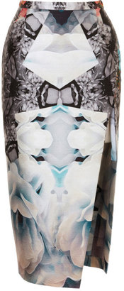Michael Angel Kaleidoscopic Faux Wrap Pencil Skirt