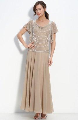 J Kara Beaded Mock Two-Piece Crepe Dress