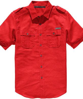 Sean John Shirt, Short Sleeved Linen-Blend Shirt