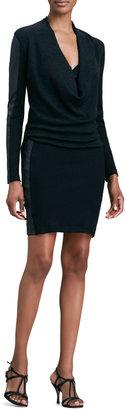 Nicole Miller Artelier Leather-Paneled Ribbed-Knit Dress