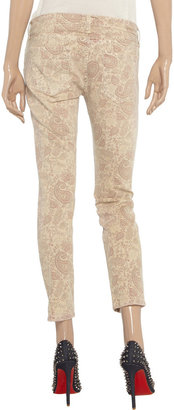 Current/Elliott The Stiletto paisley-print low-rise skinny jeans