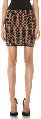 M Missoni Diamond Knit Tube Skirt in Brown Multi
