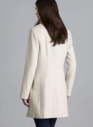 Calvin Klein Two Pocket Asymmetrical Zip Wool Coat With Faux Leather Detail