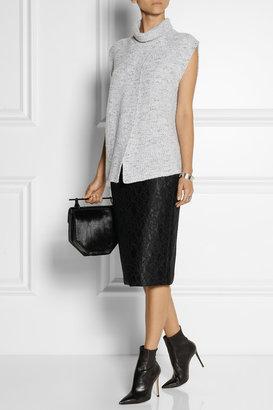 ADAM by Adam Lippes Lace-appliquéd satin pencil skirt