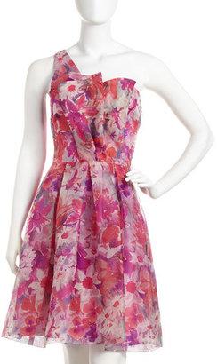 David Meister One-Shoulder Floral-Print Dress