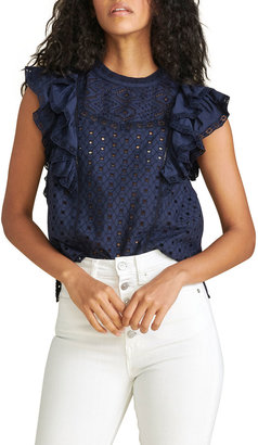 Veronica Beard Jie Eyelet Ruffle Top