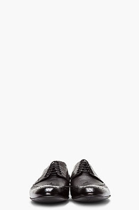 Paul Smith Black Dip-Dyed Leather Wingtip Milton Brogues