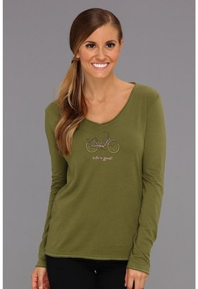 Life is Good Crusher L/S Lightweight Vee (Olive Green) - Apparel