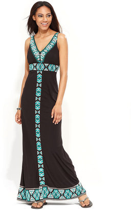 INC International Concepts Dress, Sleeveless Southwestern-Embroidered Maxi