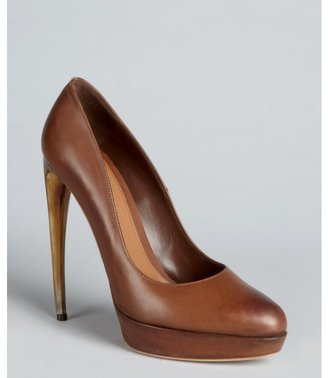 Alexander McQueen cigar burnished leather curved heel pumps