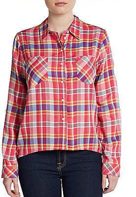 C&C California Plaid Roll-Sleeve Shirt