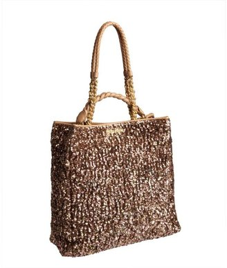 Miu Miu Rose Gold Sequin And Leather Shopper Tote