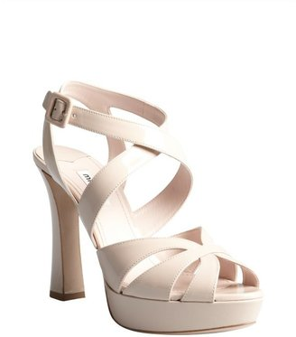 Miu Miu Pale Pink Patent Leather Crisscross Strapped Platform Sandals