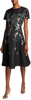 Rickie Freeman For Teri Jon Cap-Sleeve Floral Jacquard Dress