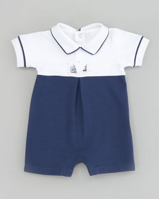 Kissy Kissy Starboard Sailboat Embroidered Playsuit