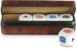 Forzieri Poker Dice with Leather Carrying Case