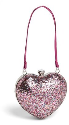 Capelli of New York Glitter Heart Shaped Handbag (Girls)