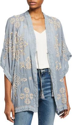 Johnny Was Dorothea Tassle-Tie Embroidered Kimono