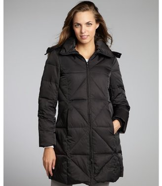 Kenneth Cole New York black quilted faux fur trim hooded down coat
