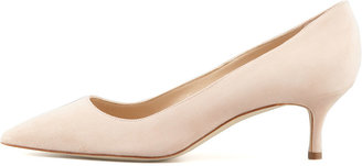 Manolo Blahnik BB Suede 50mm Pump, Nude (Made to Order)