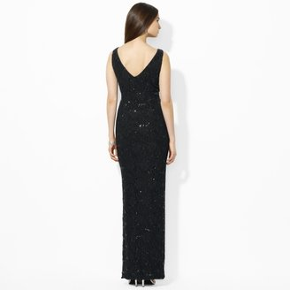 Ralph Lauren Sleeveless Sequined Lace Gown