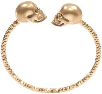 Alexander McQueen Gold/Ruby Twin Skull Bangle