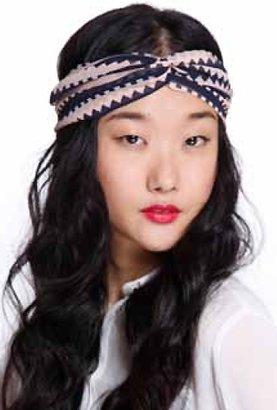 Genie by Eugina Kim Kim Penny Twist Turban Headband in Pink/Navy