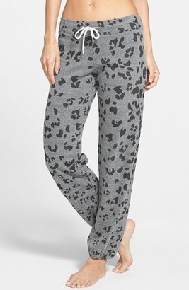 Monrow Leopard Print Vintage Fleece Sweatpants