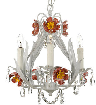 Bed Bath & Beyond Wrought Iron & Crystal 4-Light Chandelier with Pink Flowers
