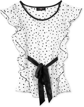 Amy Byer Kids Shirt, Girls Polka Dot Ruffle Top