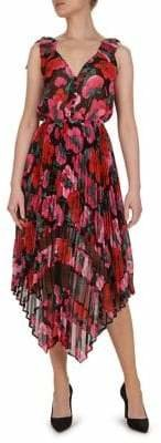 The Kooples Floral Asymmetric Hem Fit Flare Dress