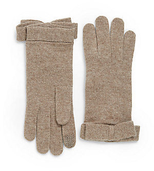 Portolano Tech-Touch Bow-Trimmed Gloves