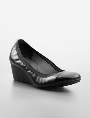 Calvin Klein Prizma Patent-Toe Leather Wedge Pump