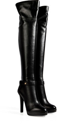 Sergio Rossi Leather Over-The-Knee Platform Boots in Black