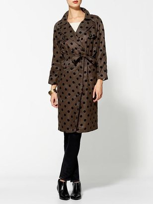 Juicy Couture Line & Dot Camdon Polka Dot Trench