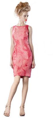 Theia Crinkled Jacquard Sheath Dress