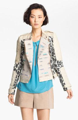 Tracy Reese Jacquard & Leather Moto Jacket