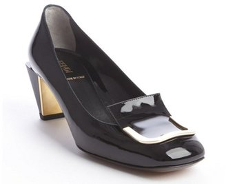 Fendi black patent leather gold buckle tipped pumps