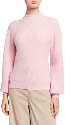 Ganni Chunky Wool Knit Puff-Sleeve Sweater