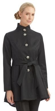 Betsey Johnson Single Breasted Fit and Flare Trench Coat