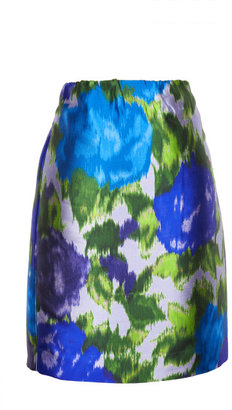 Michael Van Der Ham Preorder Blue Floral Satin Twill Pencil Skirt
