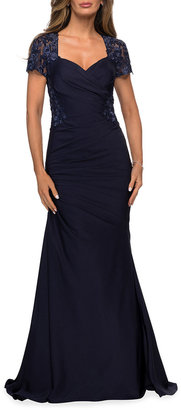 La Femme Sweetheart Ruched Satin Gown with Lace Back