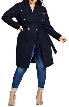 City Chic Plus Double-Breasted Military Coat